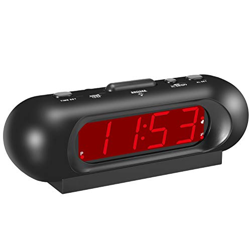 KWANWA Small Cordless 110 db Loud Digital Travel Alarm Clock with 0.9