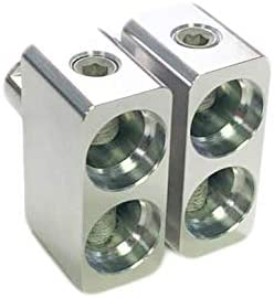 Pair of Power and Ground Angled 1//0 to 1//0 AWG 0 Gauge Amp Input Reducers