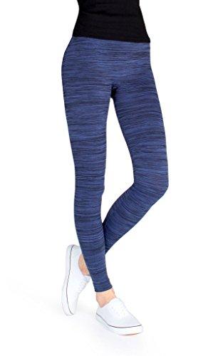 MeMoi Mariana Fleece-Lined Spacedye Legging - Winter Leggings Black/Blu MLB 014 L/XL