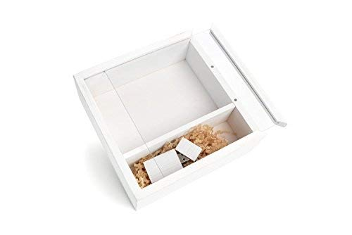 - Wood Wash White Photo Box with a Clear Acrylic Sliding Lid with magnets to hold it in place - The Photo Box Holds 150 4 x 6 Photographs and comes with a Matching 8GB Flash Drive