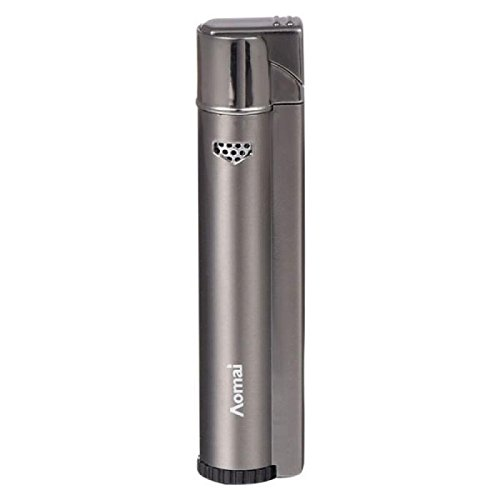 Piioket Aomai Metal Cigarette Lighter Windproof Refillable Butane Gas Cigar Lighter - Gray