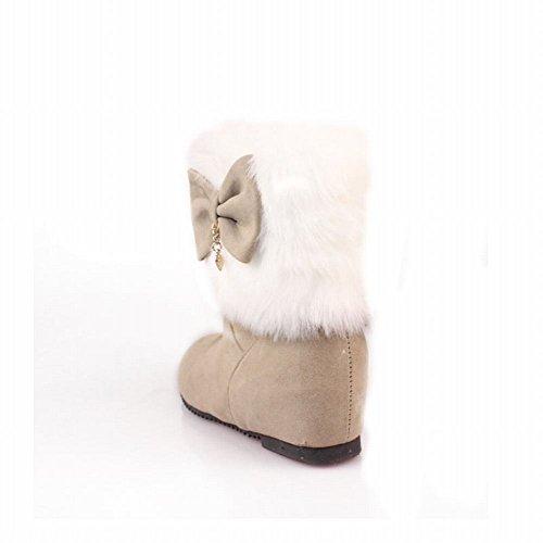 Sweet Cute Pendant Fashion Heel Beige Fur Hidden Bows Womens Dress Carolbar Snow Boots Faux wA5xXFnZnq