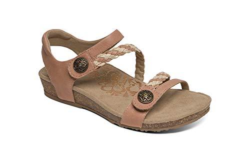 Aetrex Jillian Womens Leather Braided Quarter Strap Orthotic Sandals - Blush - 5.5 (EU 35.5)