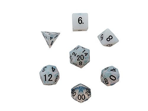 Set of 7 Polyhedral Gemstone Dice Opalite Norse Foundry RPG (Gem Dice)