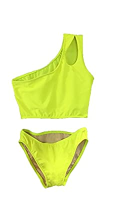 Cheryl Creations Kids Girl's Black Cute & Comfortable Two Piece One Shoulder Bathing Suit Bikini | Swimsuit