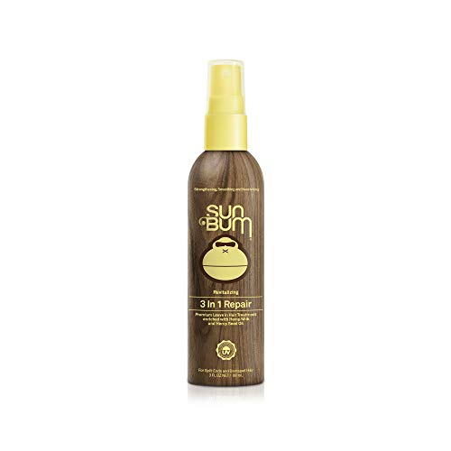 Sun Bum Revitalizing 3 in 1 Repair Spray|Leave in Hair Treatment for split ends and damaged hair|Hydrating Hemp Seed Oil|Controls Frizz paraben free|sulfate free|3 FLozSpray Bottle