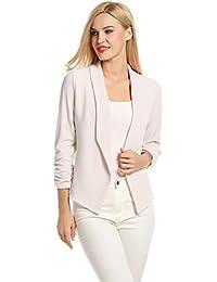 POGT Women 3/4 Sleeve Blazer Open Front Cardigan Jacket...