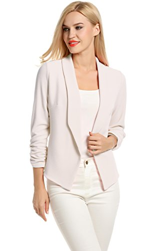Cotton Cropped Blazer - POGT Women 3/4 Sleeve Blazer Open Front Cardigan Jacket Work Office Blazer (XL, White)
