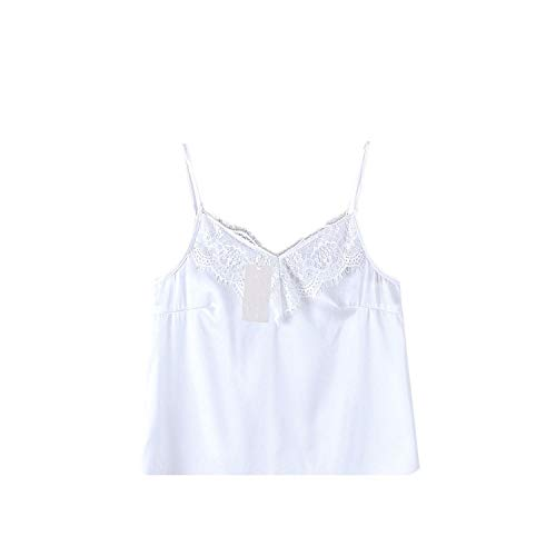 - Women's Summer Lace Solid V-Neck Sleeveless Satin Sling Tank Tops,White,XL