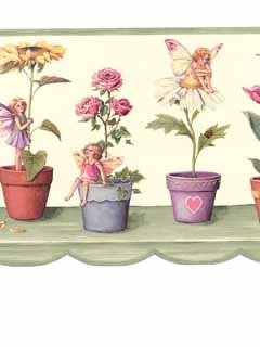 (Flowers, Butterflies, Fairies Wallpaper Border - Sunflowers Tulips Daisies Pansies...)