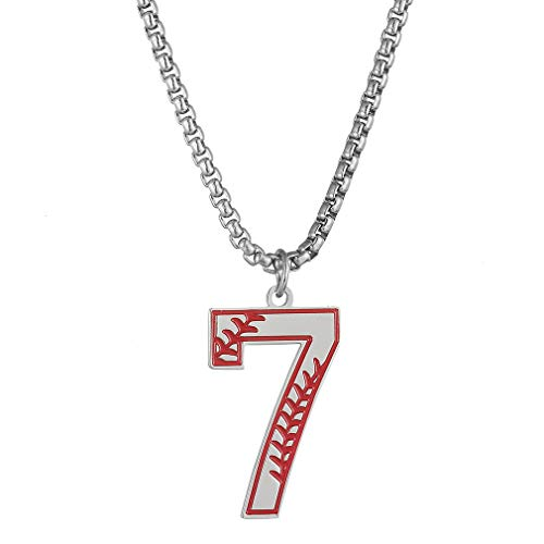 Baseball Initial Number Necklace for Boys,Men Sports Prayer Inspiration Baseball Jersey Number Charms Stainless Steel Pendant Necklace Crafted,(Silver,Number 7 Neckalce) (Co Silver Team Jerseys)