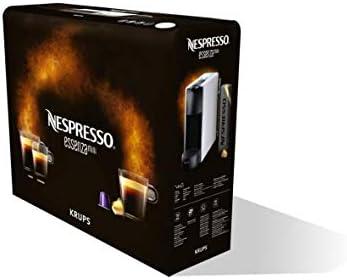 Krups Cafetière à capsules Nespresso Essenza Mini (1260watt, technologie de chauffe Thermoblock, 0,7litre, 19bar) sans mousseur à lait gris