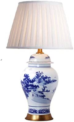 SLH Altura 70 cm Lámpara de Mesa de cerámica de Porcelana Azul y ...