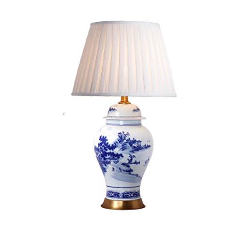 WYY Altura 70 cm Lámpara de Mesa de cerámica de Porcelana Azul y ...