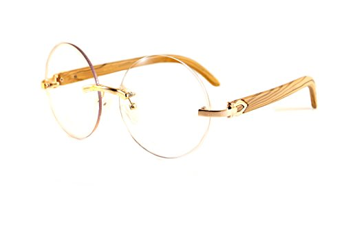 FBL Vintage Rimless Round Clear Lens Metal & Wood Feel Eyeglasses A101 (Gold - Round Rimless Eyeglasses