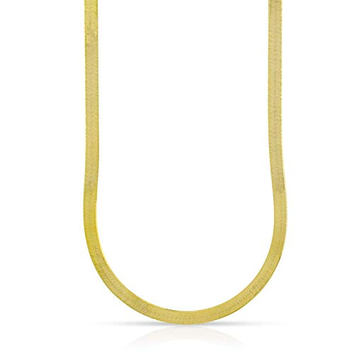14K Yellow Gold 3mm Imperial Herringbone Chain Necklace 16