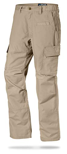 LA Police Gear Mens Urban Ops Tactical Cargo Pants - Elastic WB - YKK Zipper - Khaki - 48 - Unhemmed