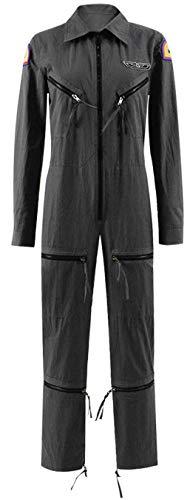 RongJun Women's Ripley Gray Jumpsuit Halloween Pilot Cosplay Costume Zipper Front Bodysuit for Women Girls (L, Gray) -