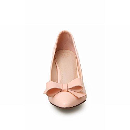Latasa Femmes Élégant Brevet-cuir Bow Pointe-orteil Stiletto Robe À Talons Hauts Chaussures Chaussures Rose