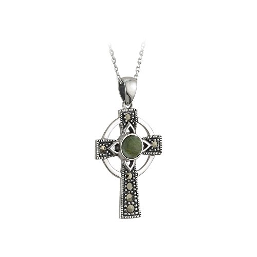 (Biddy Murphy Celtic Cross Necklace for Women Sterling Silver Connemara Marble and Marcasite Irish Made)
