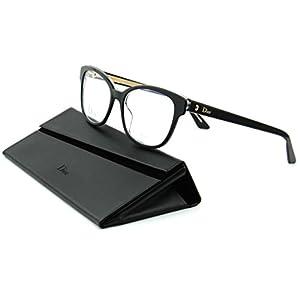 Dior Montaigne 3 Women Cateye Eyeglasses (Balck Crystal Frame (0G99), 54)