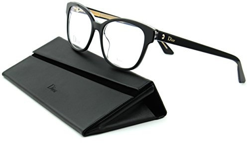 Dior Montaigne 3 Women Cateye Eyeglasses (Black Crystal Frame (0G99), 52) (Christian Dior Cd Eyeglasses Frame)