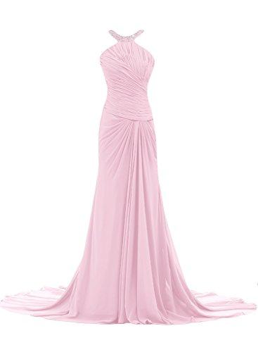 ivyd ressing Mujer Elegante Funda de línea croma gasa Prom vestido pelota para vestido de noche rosa 40