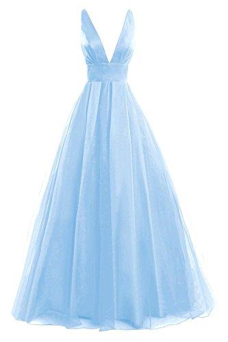 JAEDEN Ausschnitt Linie Brautjungfernkleid A Himmelblau Lang Tüll Abendkleid V Damen Festkleid Ballkleider pqrwgpZ