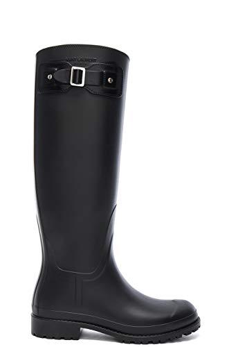 Saint Laurent Women's Black Rubber Festival Buckle Rain Boots Shoes, US 5 / EU 35, Black (Yves St Laurent Shoes)