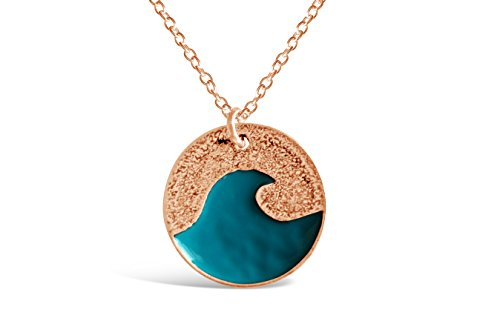 Rosa Vila Blue Ocean Wave Necklace, Dainty Ocean Necklace, Wave Necklace for Women, Ocean Pendant Necklace in Beachy Necklaces, Ocean Jewelry, and Wave Jewelry (Blue) -