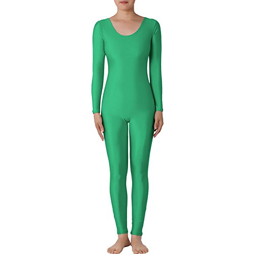 [Muka Scoop Neck Long Sleeve Unitard Lycra Zentai Bodysuit Catsuit Dancewear - CLOVERGREEN,S] (80s Fancy Dress Ideas Men)