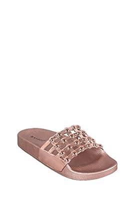 JD Women Open Toe Fuzzy Furry Faux Fur Rubber Soles Platform Flip Flop Slip-On Sandals