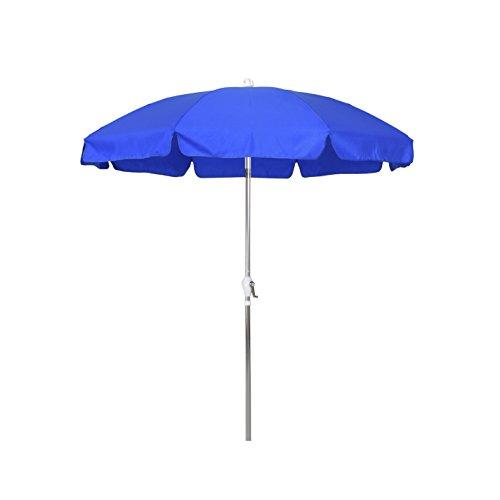 California Umbrella 7.5' Round Aluminum Patio Umbrella with Valance, Crank Lift, 3-Way Tilt, Silver Pole, Royal Blue Olefin (Umbrella Wayfair Patio)