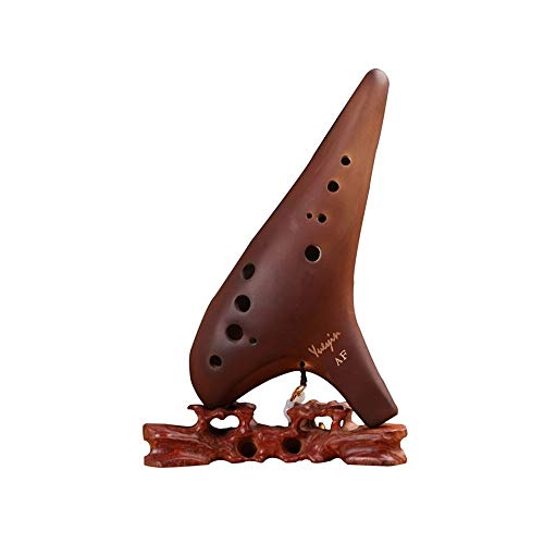 SHENGSHIHUIZHONG Smoked Ocarina, 12-hole Mid-range F Professional Performance Level, College Students Adult Beginners, Alto F-style Ocarina Musical Instruments (Color : Brown)