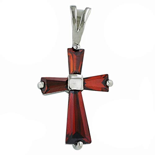 Tisoro 925 Solid Sterling Silver Small Cubic Zirconia Baguette Cross Pendant, Charm for Bracelet Necklace (Red (Garnet)) ()