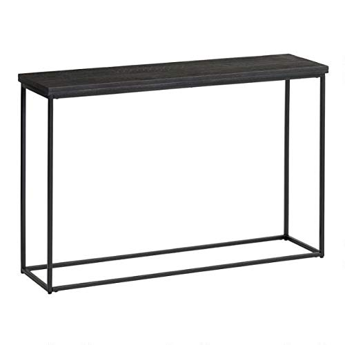 (Black Geometric Carved Wood and Metal Samir Console Table)
