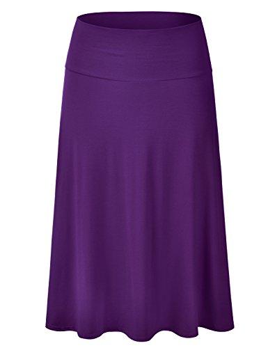 EIMIN Women's Solid Flared Lightweight Elastic Waist Classic Midi Skirt Purple ()