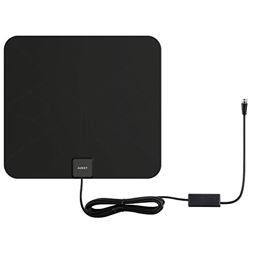 AUKEY HDTV Antenna, Amplified Indoor Digital TV Antenna with In-line Amplifier Signal Booster and 9.8ft Coax Cable for HDTVs (Black) by AUKEY