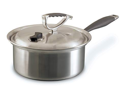 CookCraft | Stainless Steel 3-Ply Bonded Cookware, Sauce Pan 3-Quart, Silver Clad Aluminum Core With Vented Latch Lid