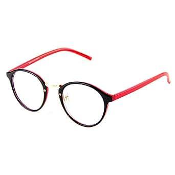 Cyxus Computer Glasses Blocking UV Anti Radiation Sleep Better Anti Eye Fatigue Clear Lens Retro Eyewear Red Leg Black Frame