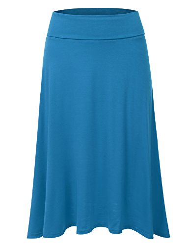 DRESSIS Women's Basic Elastic Waist Band Flared Midi Skirt TEAL XL