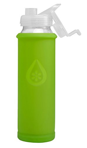 Eveau Glass Water Bottle with Flip Lid, Kiwi Bumperguard Silicone Sleeve, Wide Mouth Opening, 21 Ounce/630 ml