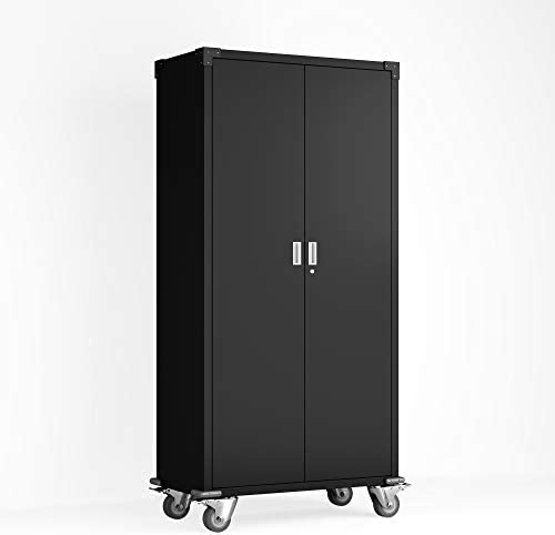 AOBABO Home Office Steel Storage Cabinet Rolling Storage with 4 Adjustable Shelves and Lock for Garage,35.4 L x 17.7 W x 73.8 H, Black
