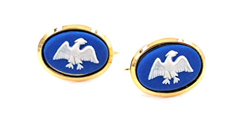 Earrings Wedgwood Cameo (Wedgwood: Gold Plate & Blue Jasperware Earrings