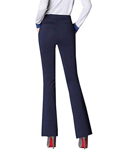 Femmes Printemps La Pantalon Marine Tissu Élégant Éclair Haute Été Avec Décontractées Couleur Mode Confortable Battercake Unie À En Affaires Des Taille Fermeture Poches q0Ztqw