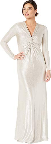 Silver Foil Dress (Tahari by ASL Women's Long Sleeve Twist Front Foil Knot Gown Silver Mist)
