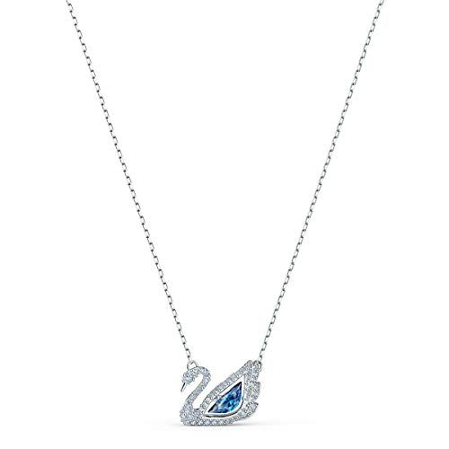 Swarovski 125th Anniversary Collection Dancing Swan Necklace, Iconic Swan Pendant with Blue and White Crystals and Elegant Rhodium Plated Chain