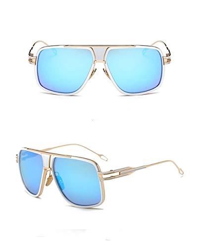 Súper de Polarizadas Sol Gafas Unisex Metal UV400 Vintage Sol Lente de Espejo con Ligero Fliegend Retro Azul Gafas Gafas Mujer para Montura de Hombre qt5E1w