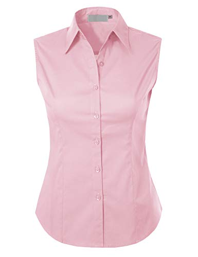 MAYSIX APPAREL Sleeveless Stretchy Button Down Collar Office Formal Shirt Blouse for Women BABYPINK - Dress Sleeveless Twill