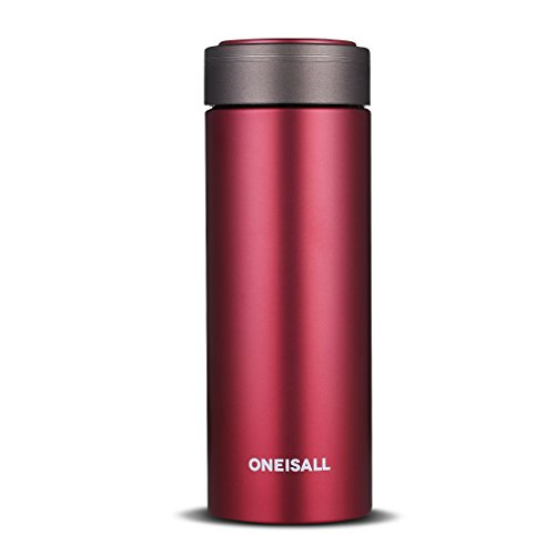 ONEISALL GYBL100 Ceramic Coffee Travel Mug, 9oz Vacuum Insulated Ceramic Lined Thermos Ceramic Liner Thermal Flask with Gift Box (Red)